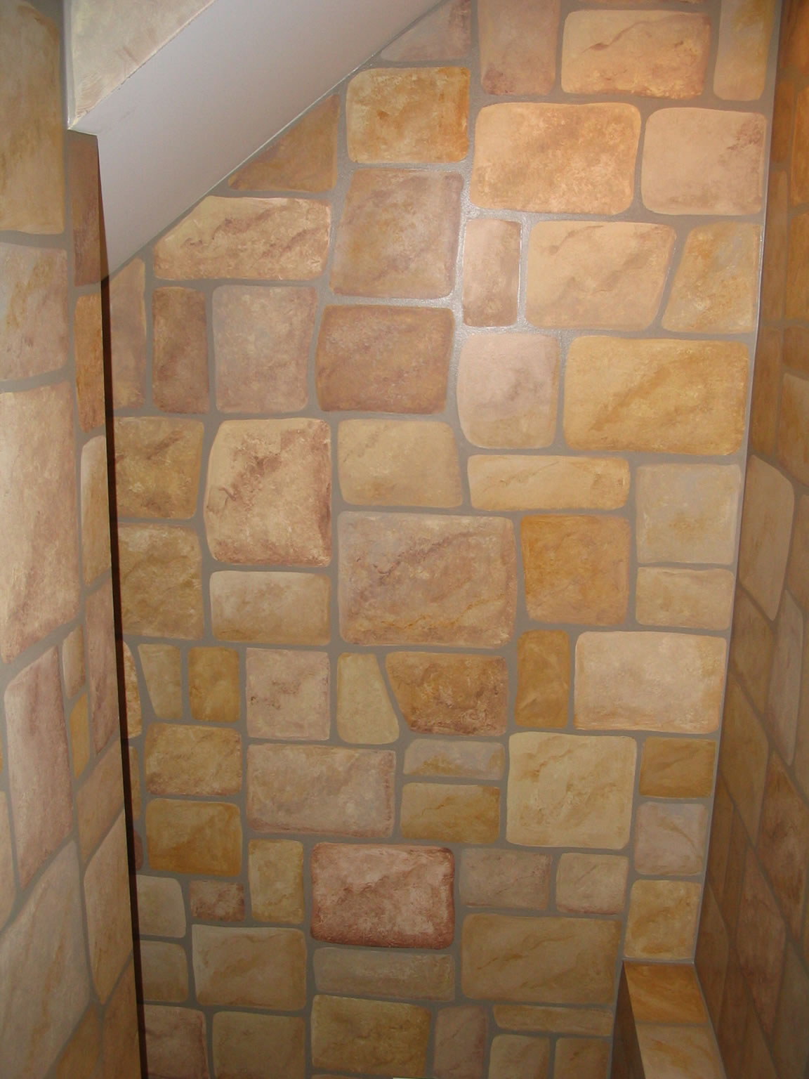 Faux painting bathroom - Danny S Basement Pub Faux Stone Coming Down The Stairs Jpg